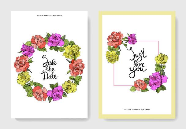Vector. Coral, yellow and purple rose flowers on cards. Wedding cards with floral decorative borders. Thank you, rsvp, invitation elegant cards illustration graphic set. Engraved ink art. - Vector, Image