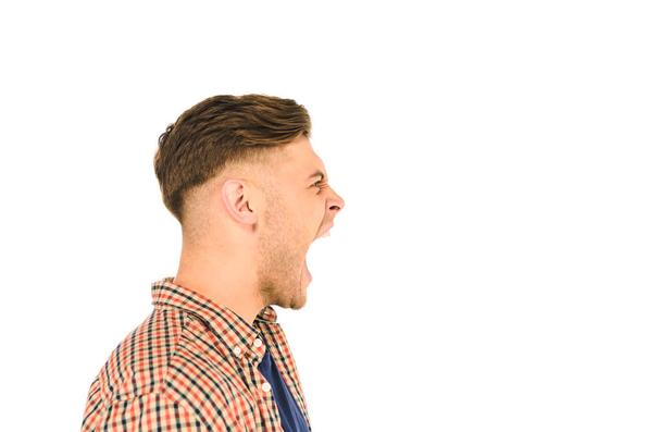 side view of handsome screaming man isolated on white - Photo, Image