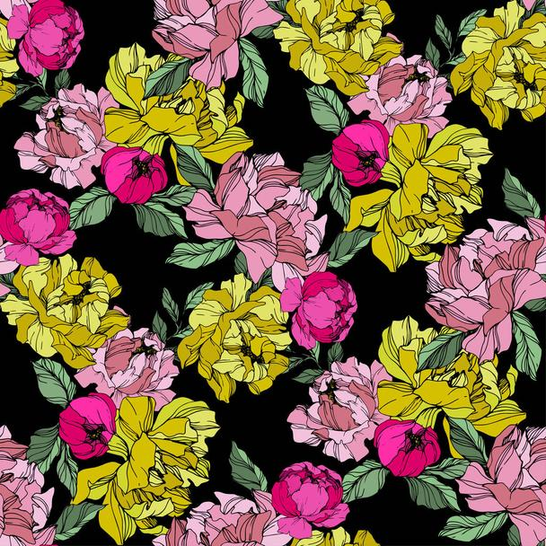 Vector Pink and yellow peonies. Wildflowers isolated on black. Engraved ink art. Seamless background pattern. Wallpaper print texture. - Vector, Image