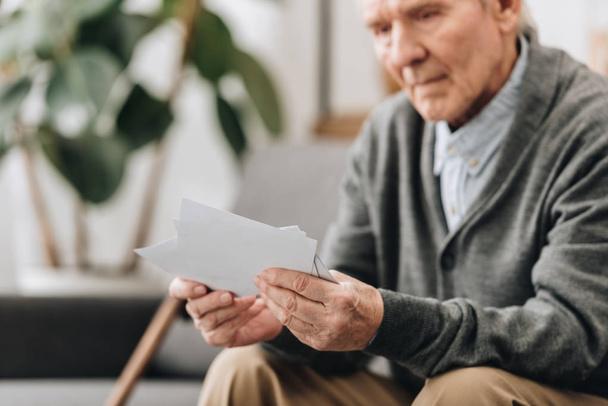 Selektive Fokussierung der Fotos in den Händen eines älteren Mannes  - Foto, Bild