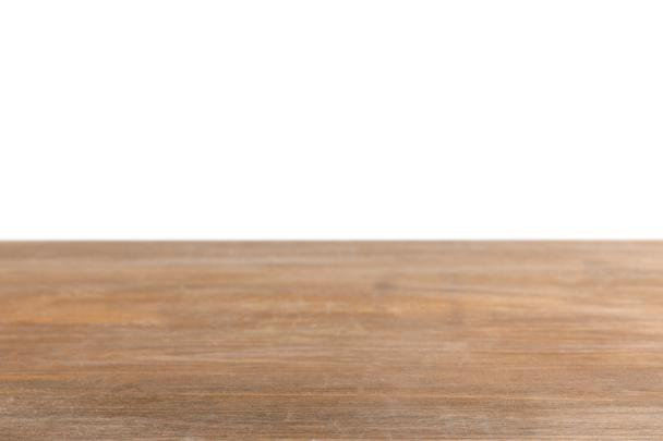 brown striped wooden tabletop on white - Photo, Image