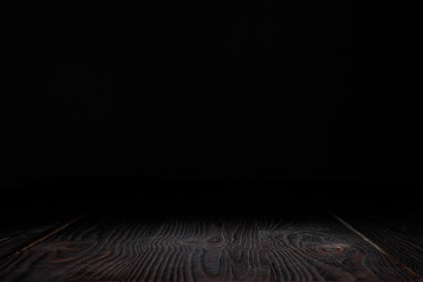 dark grey striped hardwood on black - Photo, Image