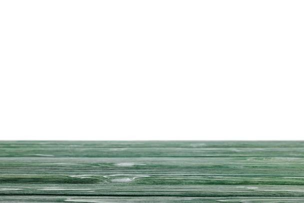 dark green striped wooden tabletop on white - Photo, Image