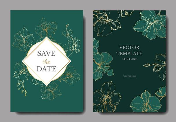 Vector golden orchids isolated on green. Invitation cards with save the date lettering - Vector, Image
