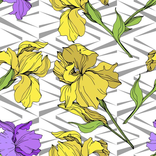 Vector isolated purple and yellow irises. Seamless background pattern. Fabric wallpaper print texture. - Vector, Image