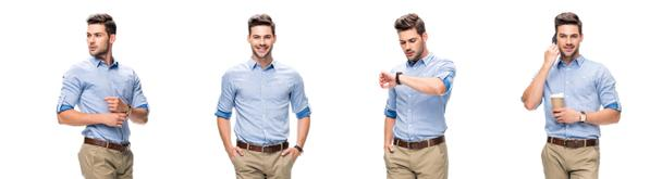 collage of handsome office worker in blue shirt and beige pants looking at watch, drinking coffee and talking on smartphone isolated on white - Photo, Image