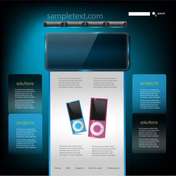 Vector Website Design Template of mp3 player - Vector, Image