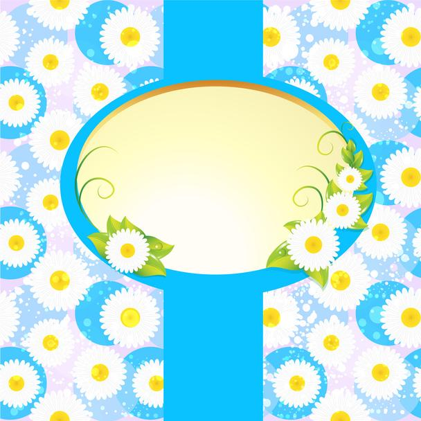 White oval frame on floral background - Vector, Image