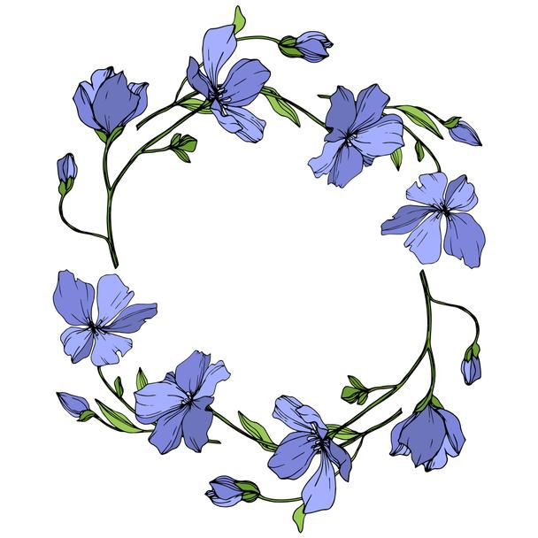 Vector Blue Flax floral botanical flower. Wild spring leaf wildflower isolated. Engraved ink art. Frame border ornament square. - Vector, Image