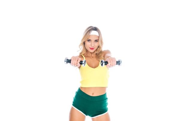 fitness trainer in sportswear holding dumbbells isolated on white - Photo, Image