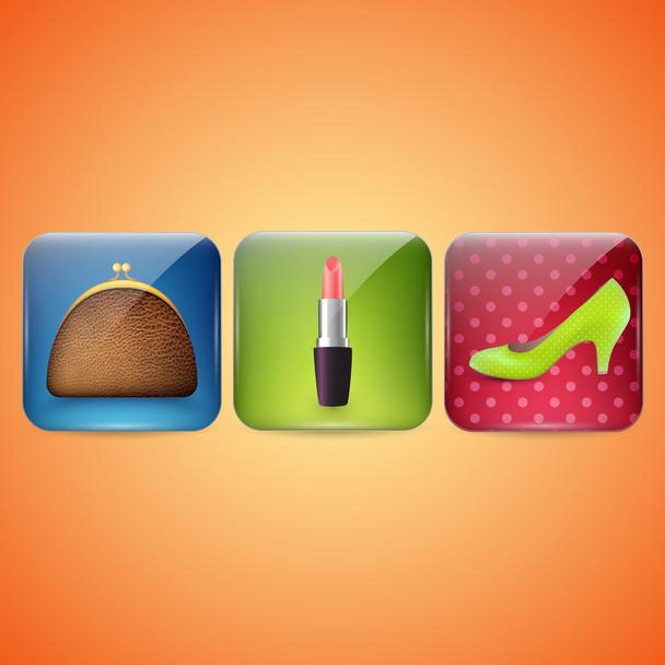 Cosmetic Industry and beauty icons. Vector illustration - Vector, Image