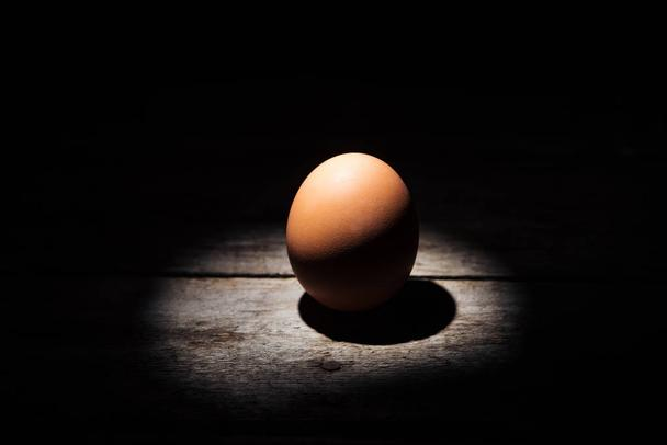brown chicken egg in darkness on weathered wooden surface  - Photo, Image