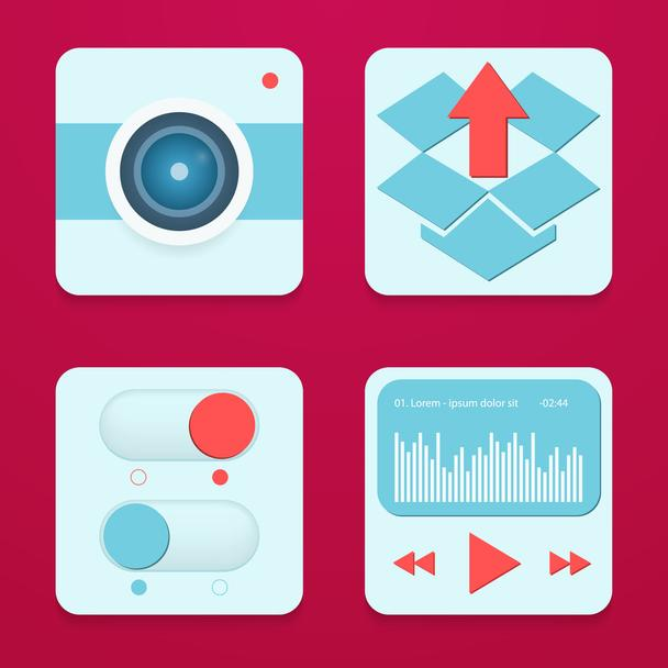 Typical mobile phone apps and services icons. - Vector, Image