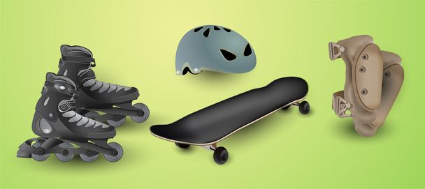 Roller skates and protection elements - Vector, Image