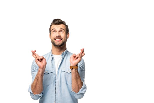 excited man with fingers crossed Isolated On White - Photo, Image