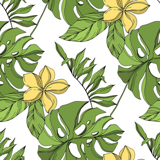 Palm beach tree leaves jungle botanical succulent. Black and green engraved ink art. Seamless background pattern. - Vector, Image