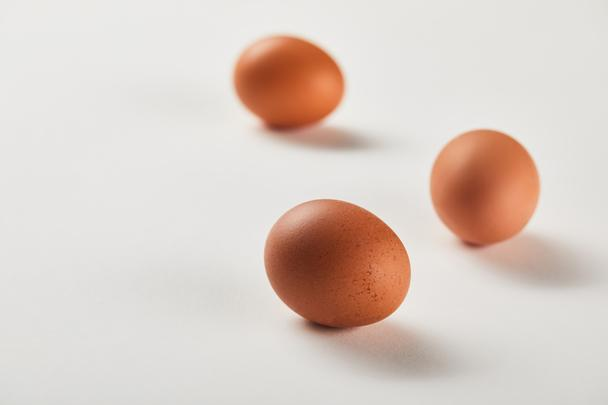 selective focus of chicken eggs on white surface - Photo, Image