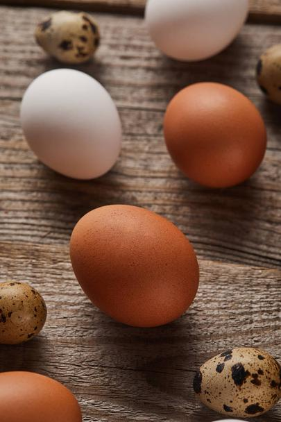 selective focus of quail and chicken eggs on wooden table - Photo, Image