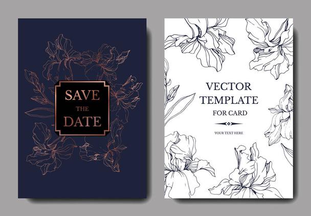 Vector Blue, purple and yellow iris botanical flower. Engraved ink art. Wedding background card floral decorative border. Thank you, rsvp, invitation elegant card illustration graphic set banner. - Vector, Image