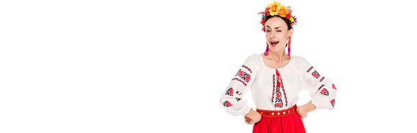 brunette young woman in national Ukrainian costume with hands on hips winking isolated on white, panoramic shot - Photo, Image