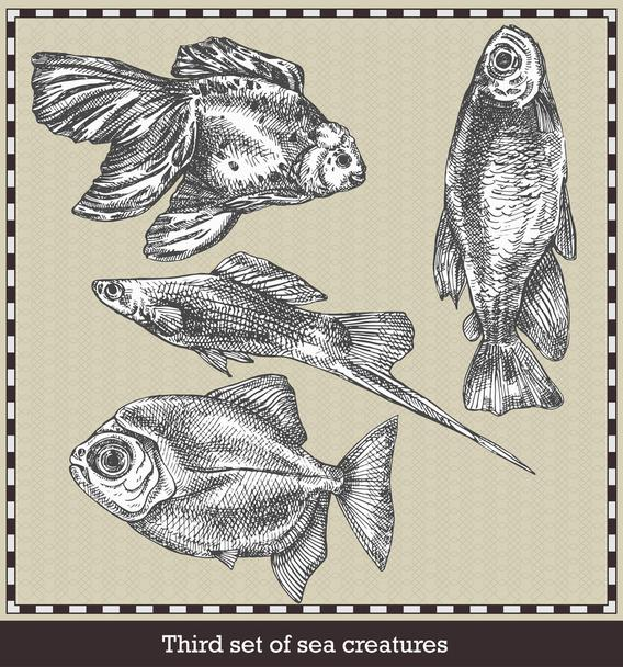 Set of sea fishes. Retro style vector illustration. Isolated on grey background - Vector, Image