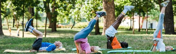 panoramic shot of multicultural retired men and women exercising on fitness mats in park  - Photo, Image
