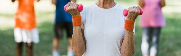 panoramic shot of senior woman in sportswear holding dumbbells  - Photo, Image
