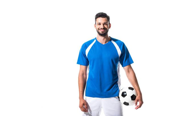 smiling soccer player with ball looking at camera Isolated On White - Photo, Image