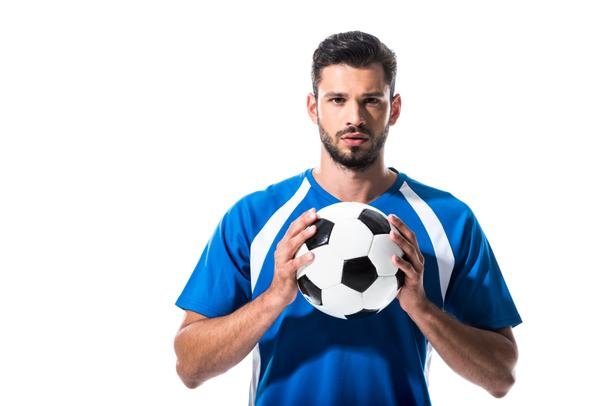 handsome soccer player with ball looking at camera Isolated On White - Photo, Image