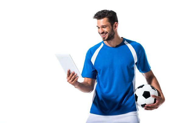 happy handsome soccer player with ball and Digital Tablet Isolated On White - Photo, Image