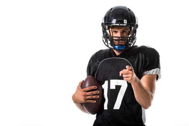American Football player with ball pointing with finger Isolated On White - Photo, Image