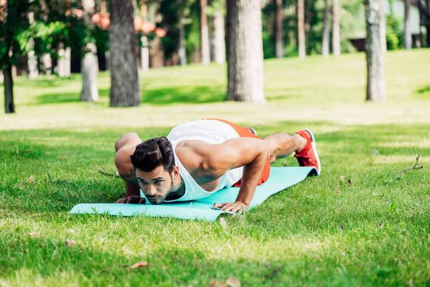 handsome athletic man doing push ups on fitness mat  - Photo, Image