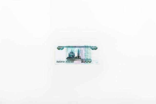 top view of russian money isolated on white with copy space - Photo, Image
