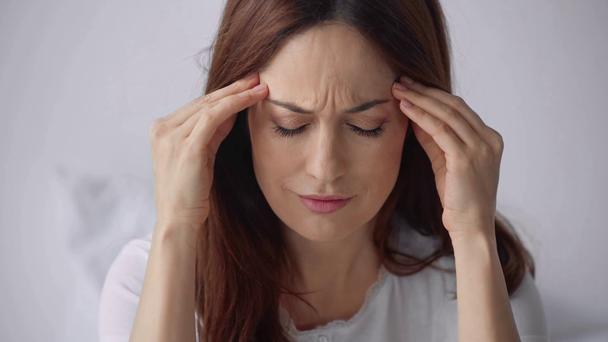 beautiful woman suffering from headache - Footage, Video