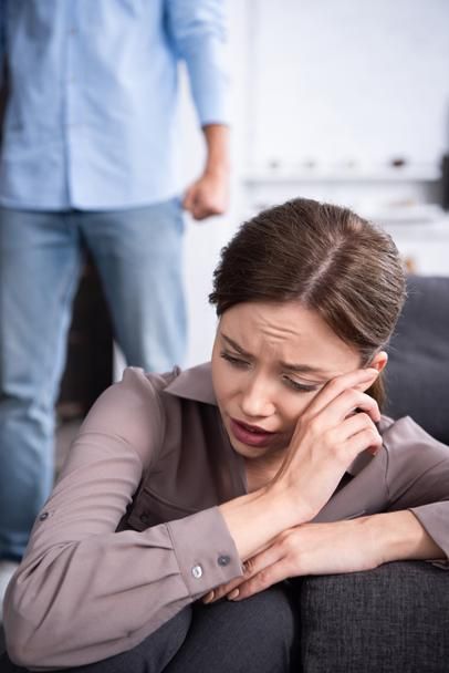 partial view of man and upset crying woman at home - Photo, Image