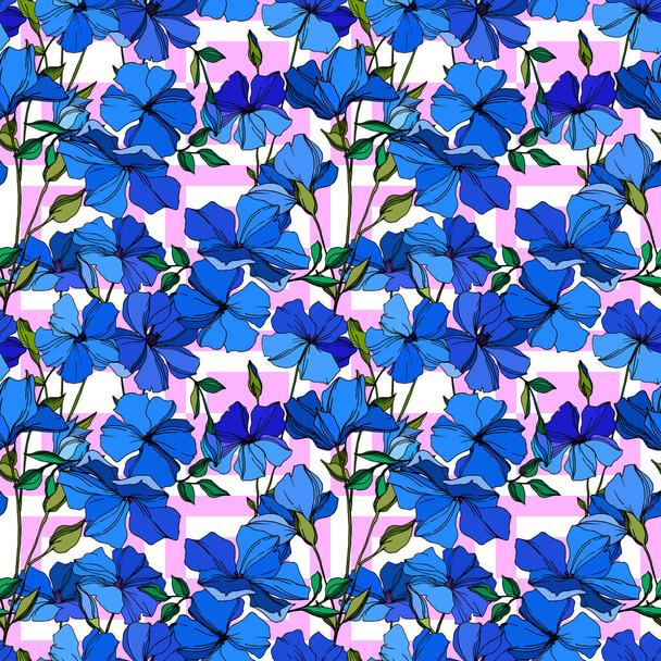 Vector Flax floral botanical flowers. Blue and green engraved ink art. Seamless background pattern. - Vector, Image