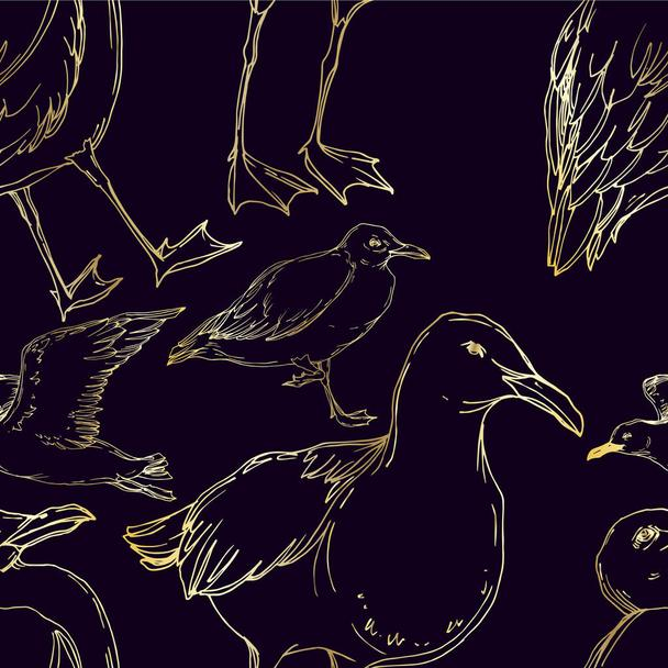 Vector Sky bird seagull in a wildlife isolated. Black and white engraved ink art. Seamless background pattern. - Vector, Image