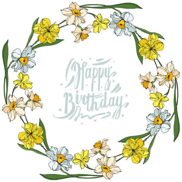 Vector Narcissus floral botanical flowers. Black and white engraved ink art. Frame border ornament square. - Vector, Image