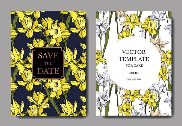 Vector Narcissus floral botanical flowers. Black and white engraved ink art. Wedding background card decorative border. - Vector, Image
