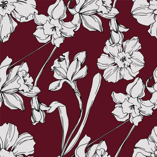 Vector Narcissus floral botanical flower. Black and white engraved ink art. Seamless background pattern. - Vector, Image