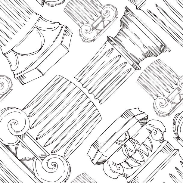 Vector Antique greek columns. Black and white engraved ink art. Seamless background pattern. - Vector, Image