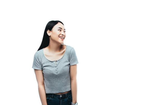 happy asian girl looking away isolated on white - Photo, Image