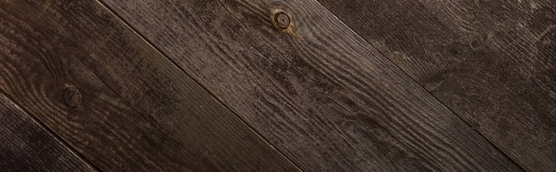 top view of empty brown wooden texture, panoramic shot - Photo, Image