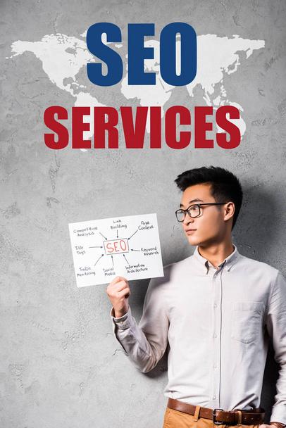 aziatische seo manager holding papier met concept woorden van seo en staan in de buurt seo diensten illustratie - Foto, afbeelding
