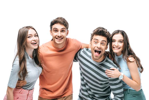 surprised friends screaming and hugging together isolated on white - Photo, Image