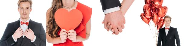 collage of handsome man, woman with red heart, couple holding hands and man with heart-shaped balloons isolated on white  - Photo, Image