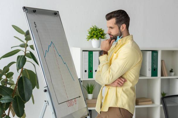 thoughtful businessman touching chin while looking at flipchart with covid-19 inscription and graphs showing recession - Photo, Image