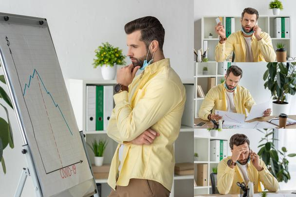 collage of serious businessman looking at flipchart with covid-19 inscription and graphs, talking on smartphone and holding documents - Photo, Image