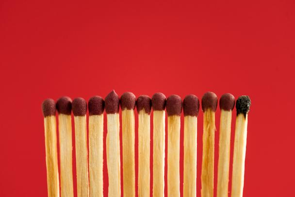 Burned match among another isolated on red - Photo, Image
