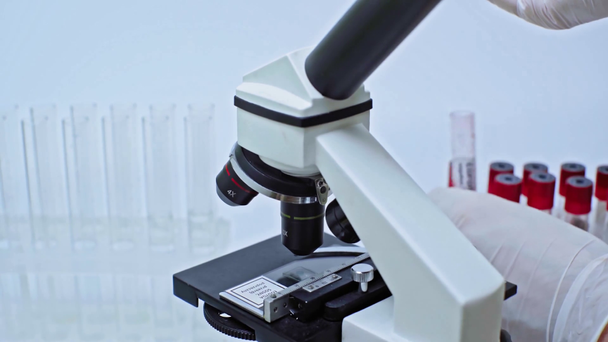 cropped view of scientist adding coronavirus blood sample to liquid - Footage, Video